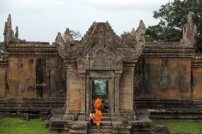 Monks at Preah Vihear temple